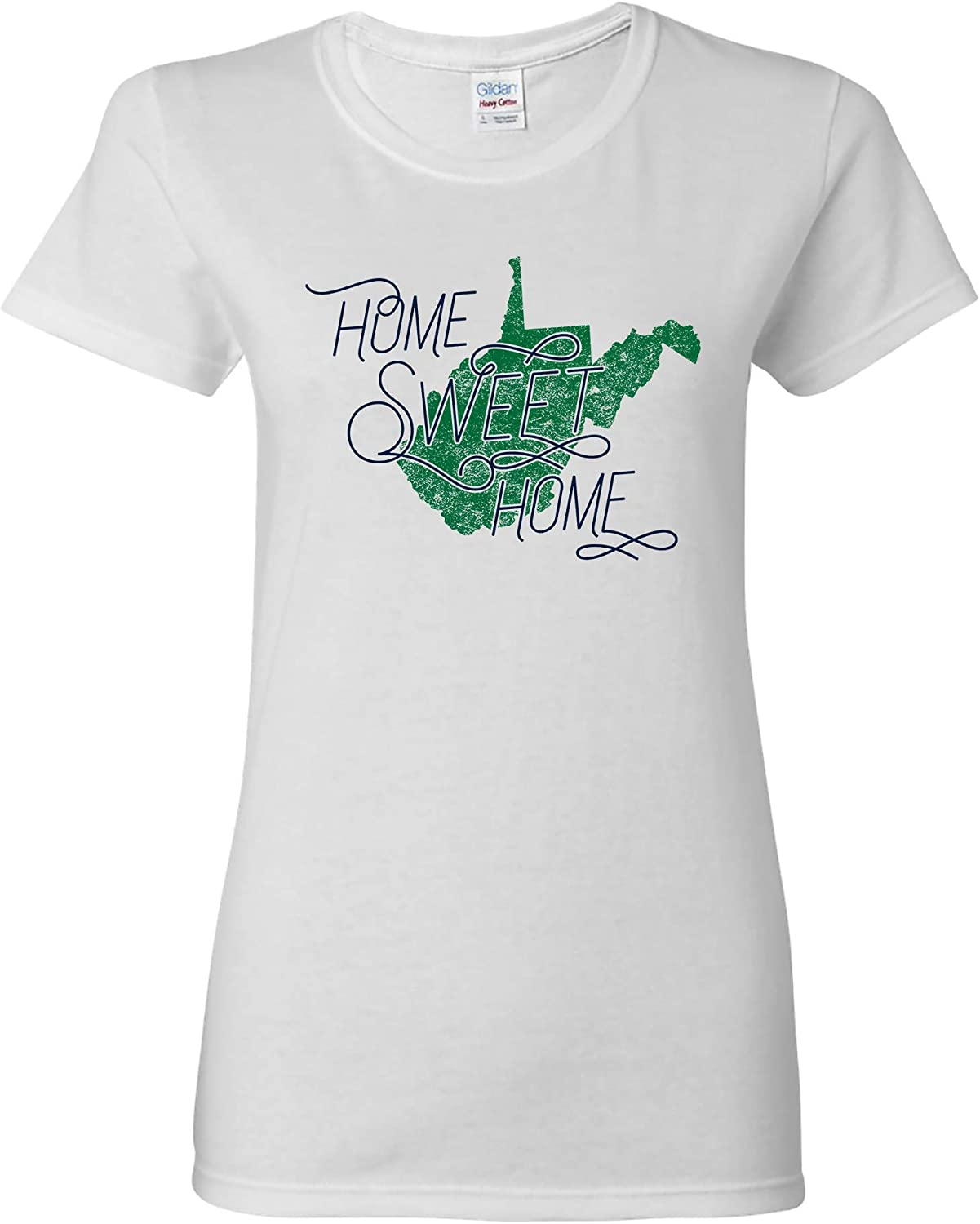UGP Campus Apparel West Virginia Home Sweet Home - State America Pride Womens T Shirt - Small - White