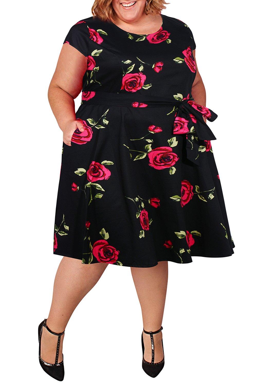 Nemidor Women\'s Cap-Sleeve 1950s Retro Rockabilly Plus Size Vintage Prom  Swing Dress (Red, 16W)