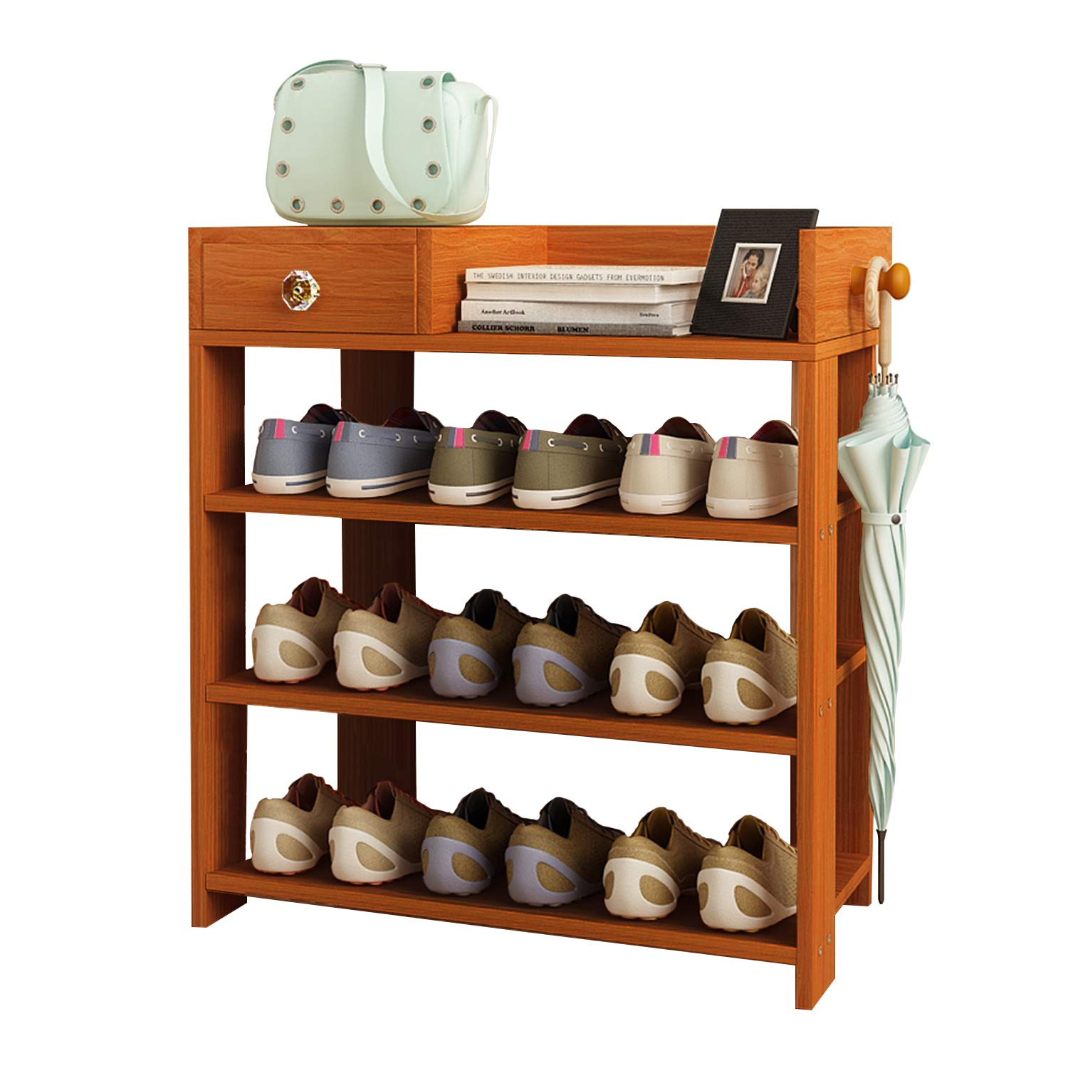 Jerry & Maggie - 3 Tier Wood MDF Board Shoe Rack Shelf with One Drawer Clothes Rack Shoe Storage Shelves Free Standing Flat Racks Classic Style - Multi Function Shelf Organizer - Natural Wood Tone
