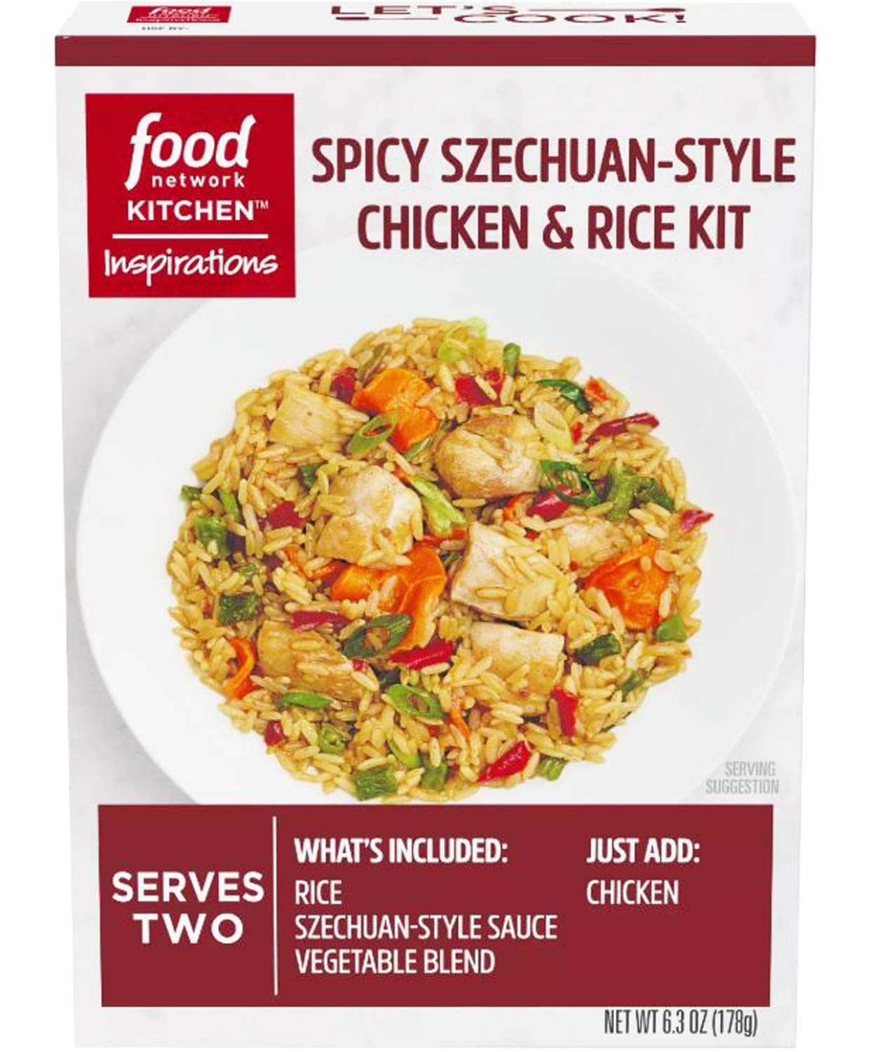 Food Network Kitchen Inspirations Spicy Szechuan Style Chicken & Rice Meal Kit! Includes Rice, Green Beans, Carrots, Red Peppers And Szechuan Sauce! Easy Homemade Chicken & Fried Rice Dinner Kit! (1)