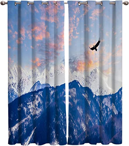 Window Curtains Eagle and Snow Mountain Digital Printed Thermal Insulated Window Drape
