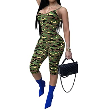 38e37c45bc06 Amazon.com  IyMoo Womens Sexy Tights Camouflage Spaghetti Strap Print  Bodycon Jumpsuit Ropmers  Clothing
