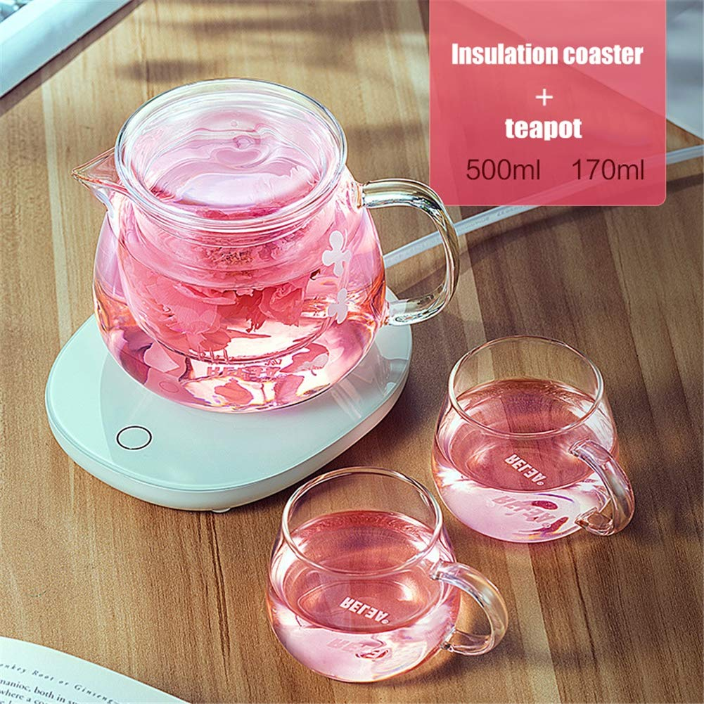 AIMCAE Heating Coaster Coffee Mug Warmer auto Shut-Off USB Beverage Warmer, with Two Temperature Settings, Include Teapot and Two teacups by AIMCAE