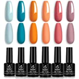 Beetles Gel Nail Polish Set, Hotel California Collection Light Blue Orange Dusty Pink Color Perfect for Autumn and…