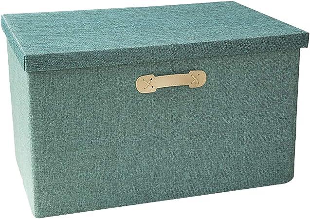 HSBAIS Plegable Cestas de Almacenamiento, Tela No Tejida Caja de Tela para Almacenaje con la Tapa Cajas de Almacenamiento para estantes Cubos de Tela y Asas,Green_37x27x26cm: Amazon.es: Hogar