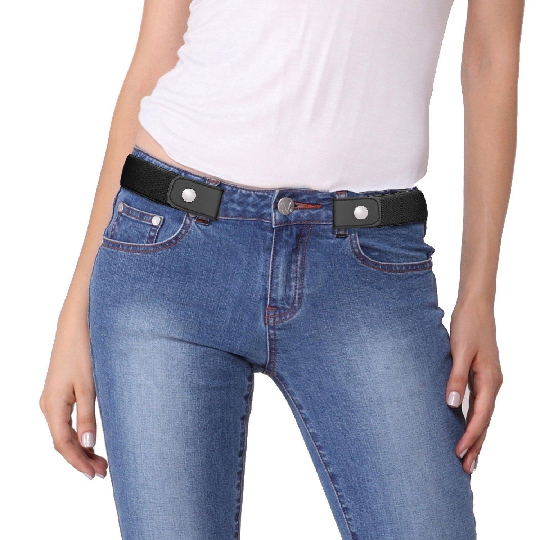 Vanstart No Buckle-Free Comfortable Elastic Belt for Men and Women.Comfortable Invisible Belt No Bulge No Hassle (Waist:24''-42'', 01-Black)
