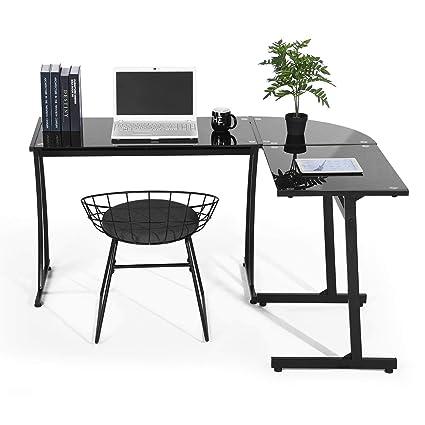 Tavolo Pc Cristallo.Coavas Scrivania Da Ufficio A Forma Di L Angolo Computer Pc Laptop Table Workstation Home Office In Pezzi Nero Con Vetro Nero
