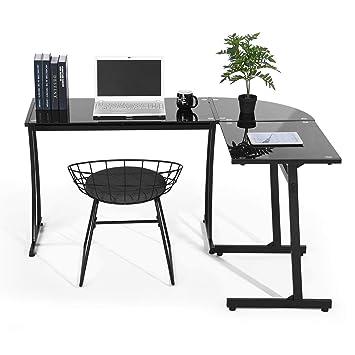 Coavas Escritorio en L Mesa de Ordenador Esquinero para Despacho Habitación Juvenil o Estudio para Hogar u Oficina Esquinero Color Negro (Cristal Negro): ...