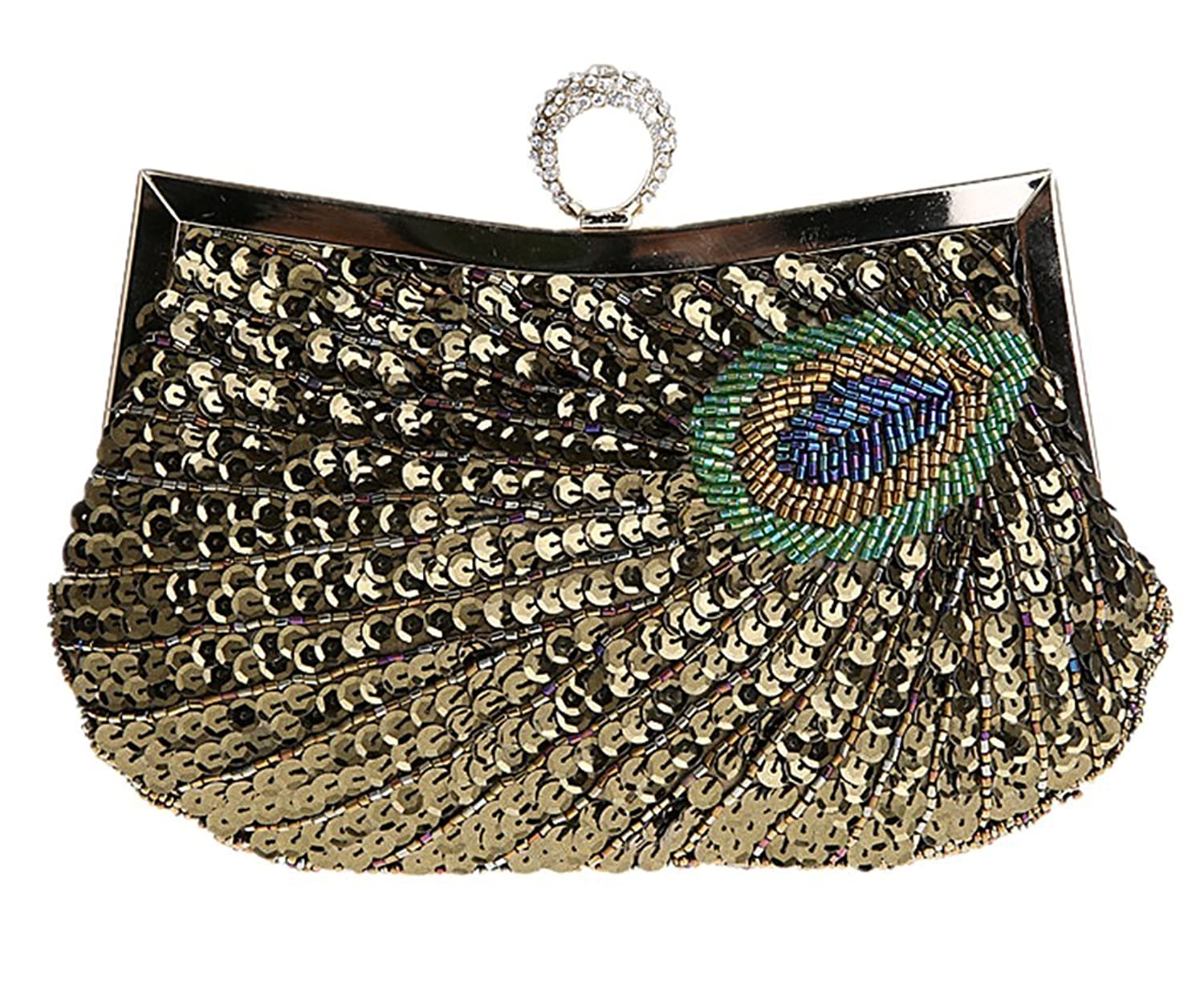 Womens Sequined Peacock Evening Bags Party Clutch Purse