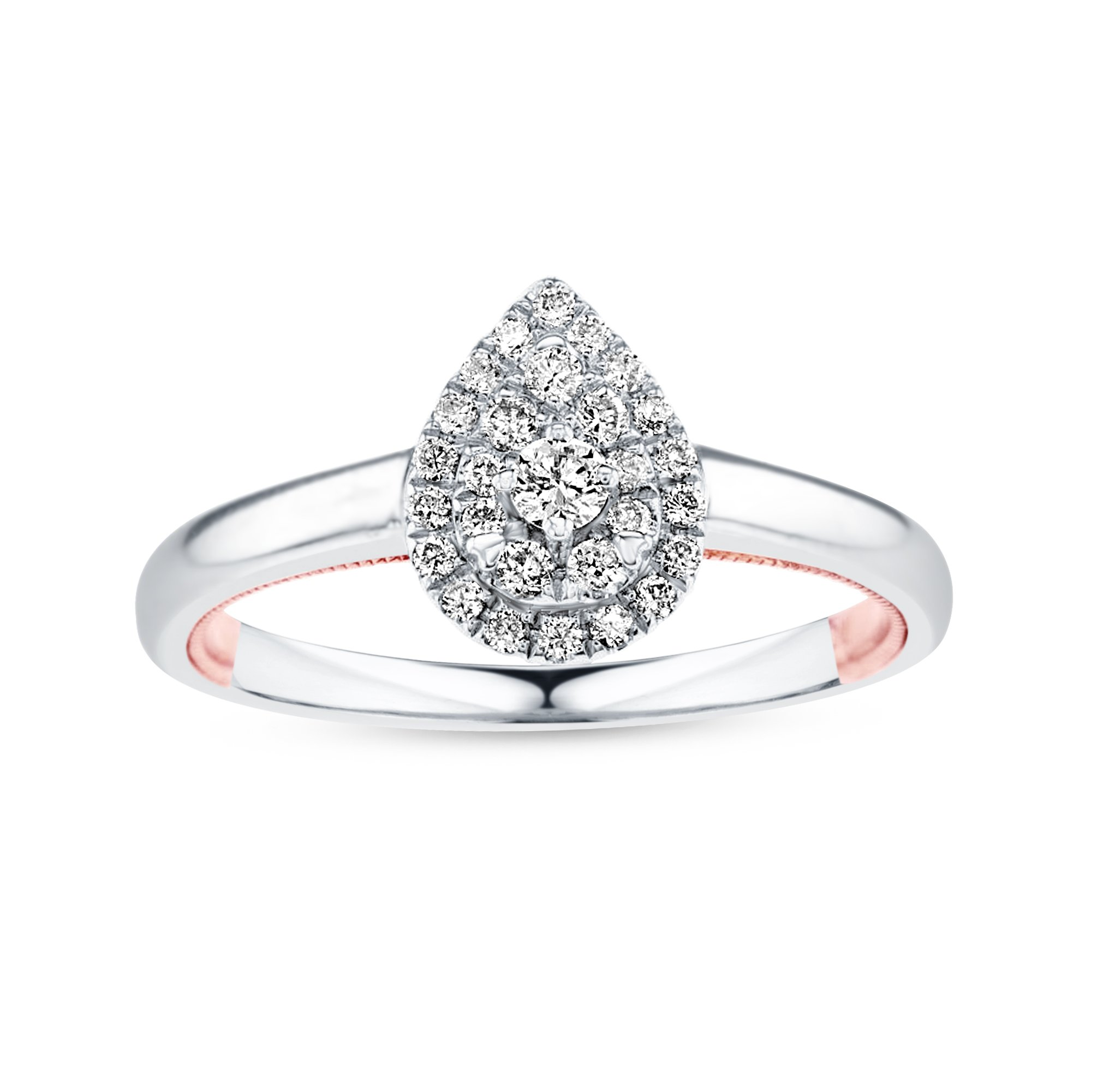 Life More Dazzling 10K White Gold Pear Shape Diamond Ring & Rose Gold Milgrain Heart (1/4CTW, I2 Clarity) by Life More Dazzling