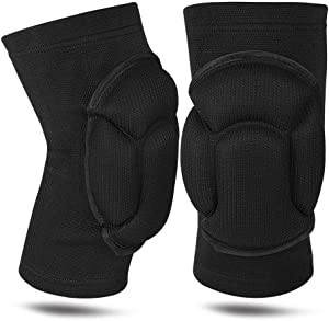 1Pair Knee Pads, Knee Protectors Protective, Thick Sponge Collision Avoidance Knee Sleeve for Adult Youth Women Mens (Black, One Size)