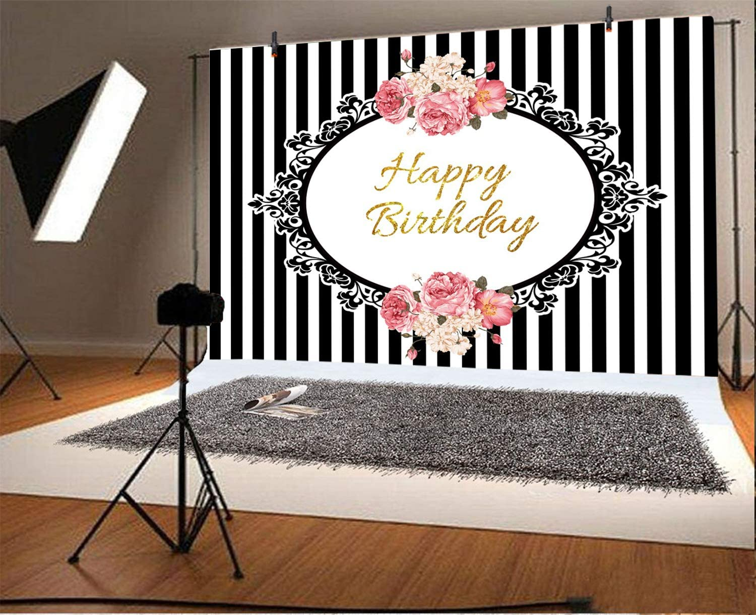 Black and White Stirpes Backdrops 10x6.5ft Vintage Photo Frame Happy Birthday Party Decoration Background for Photography Watercolor Flowers Border Striped Banner Party