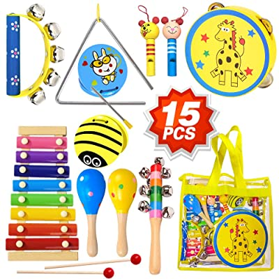 ToyerBee Musical Instruments Toys Set for Kids, 15PCS Wooden Percussion Instruments for Toddlers, Preschool& Educational Toy with StorageBag, Tambourine, Maracas, Castanets& More for Boys and Girls.: Toys & Games
