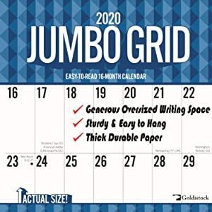 """2020 Large Planner Wall Calendar-""""Jumbo Large Print"""" by Goldistock 12"""" x 24"""" (Open) - Thick & Sturdy Paper - Perfect for Organizing & Planning - Oversized Blocks"""