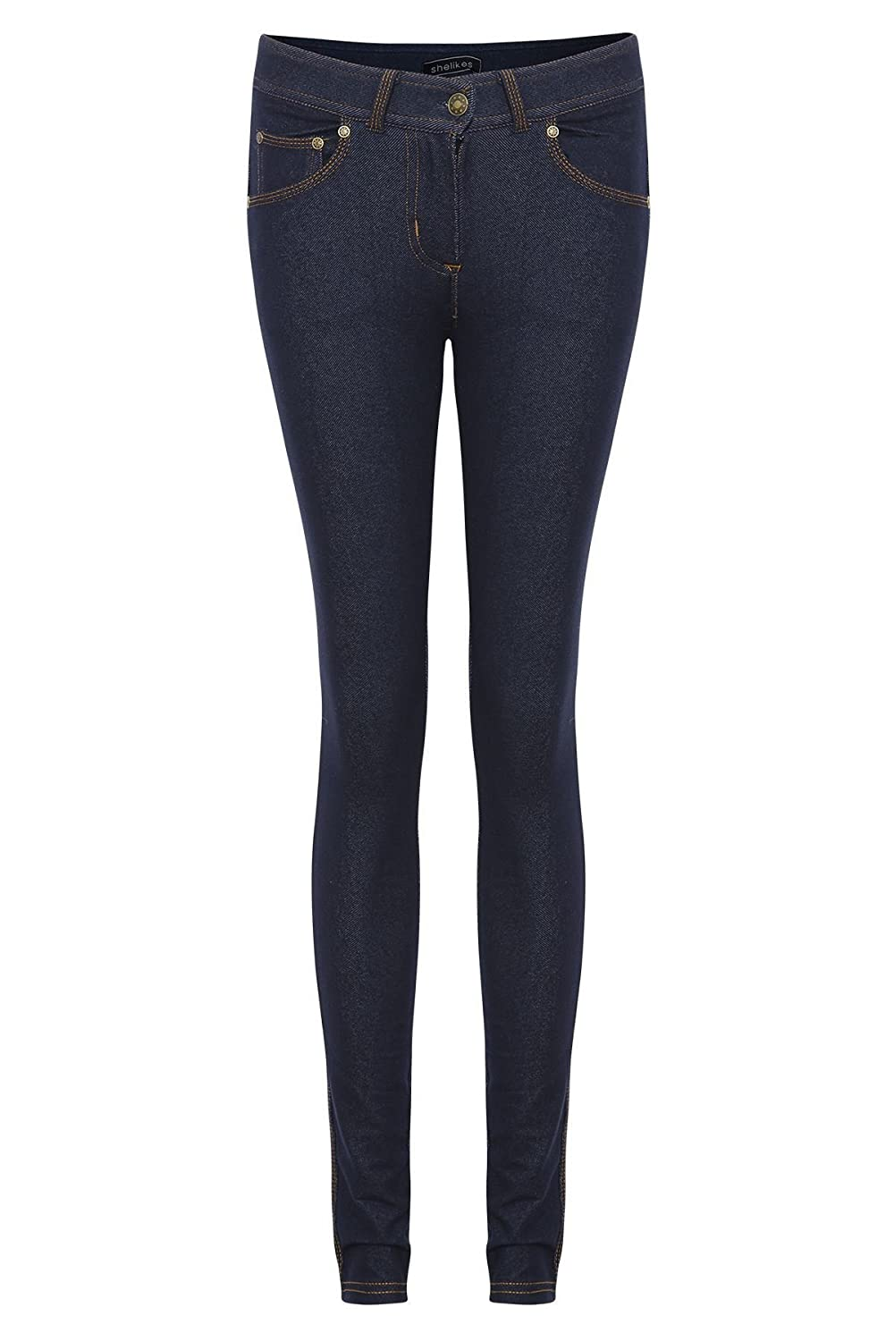 New Skinny Womens Jeans Stretchy Jeggings Ladies Fit Coloured Trousers Size 8-14