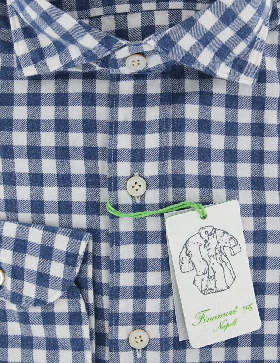 Size Large 16.5 Finamore Napoli Blue Patterned Button Down Spread Collar Cotton Slim Fit Dress Shirt