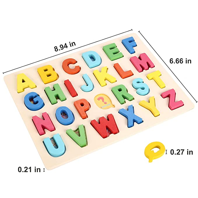 Joqutoys Wooden Alphabet Puzzle Toddlers Learning Upper Case Letters Blocks ABC Puzzles Educational Toys for Girl Boy Gifts