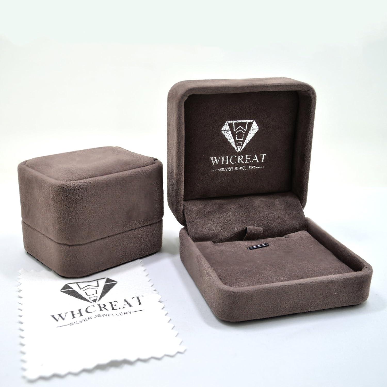 WHCREAT 925 Bague en Argent Sterling pour Les Femmes Mariage//Fian/çailles Classique Zircon Cubique R/églable Anneau Ouvert