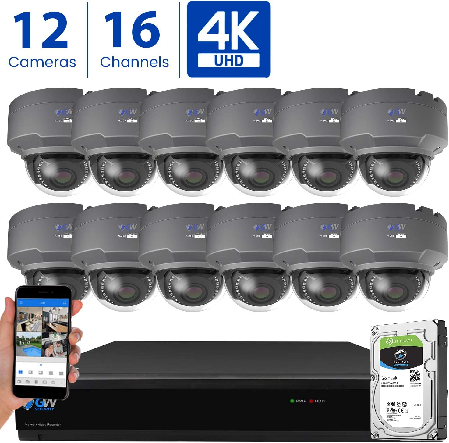 GW 16 Channel 4K H.265 CCTV DVR Security Camera System with 12 x UHD 8MP 2.8-12mm Varifocal Zoom 4K Dome Surveillance Cameras and 4TB HDD, Free Remote View, Motion Alert with Snapshot