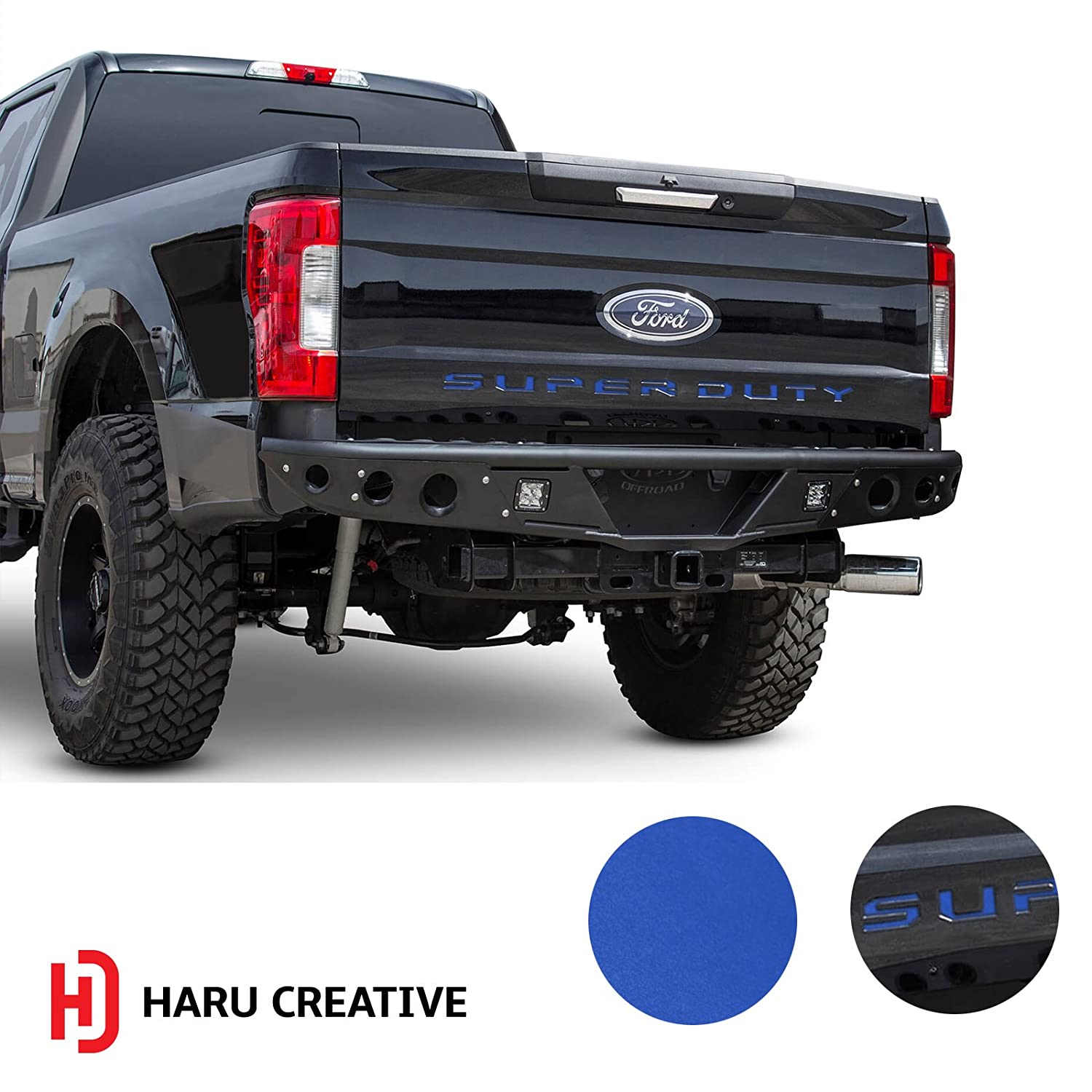 Rear Tailgate Letter Insert Overlay Vinyl Decal Sticker Compatible with and Fits 2017 2018 Ford Super Duty F250 F350 F450 Haru Creative Matte Gunmetal