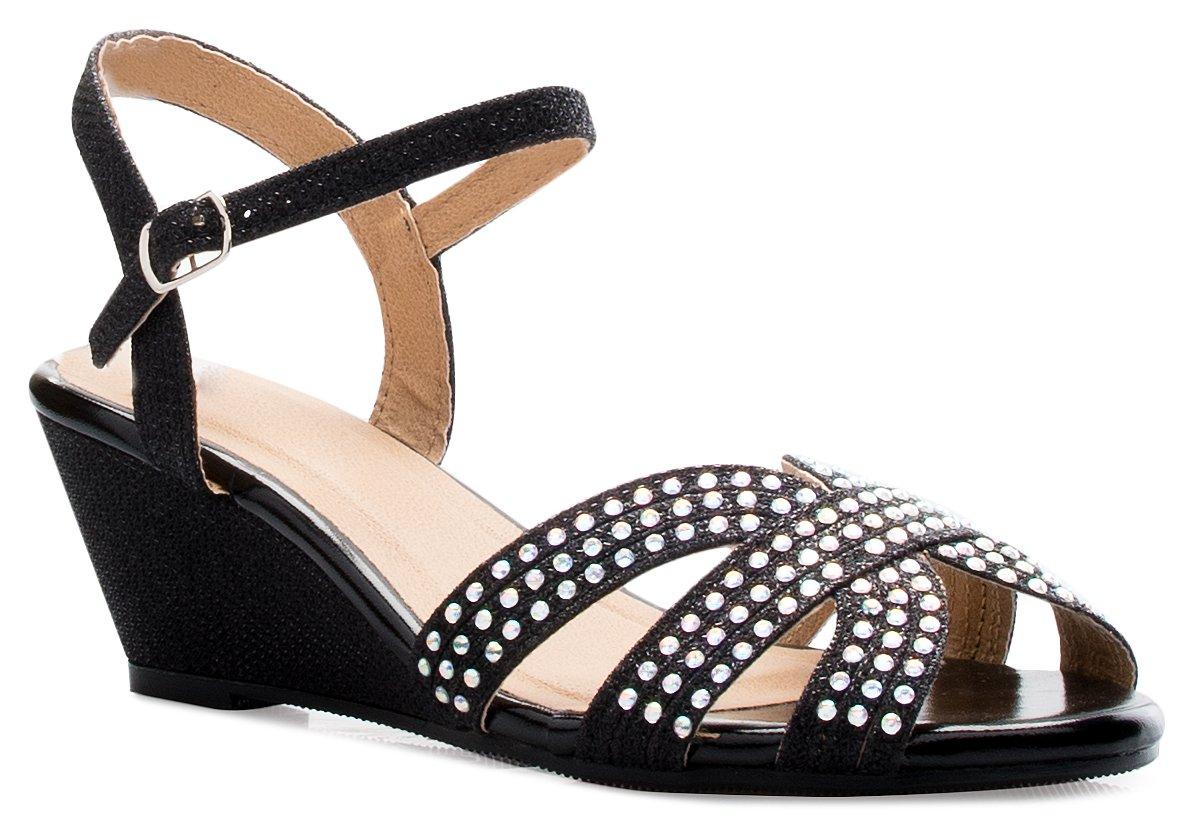 OLIVIA K Women's Open Toe Glitter Shimmer T-Strap Cage Low Heels Wedge Sandal