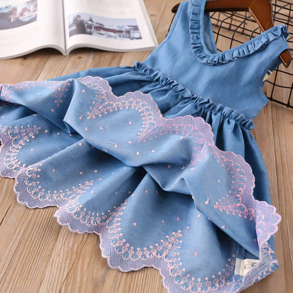 OCEAN-STORE Toddler Kids Baby Girls Dress Embroidery Denim Party Pageant Princess Clothes