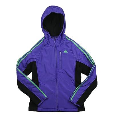 Adidas Big Girl's Soft Shell 3-Stripe Full Zip Polar Fleece Hooded Jacket