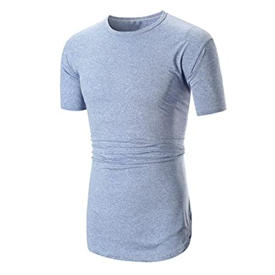 e87a2c773c1 iHPH7 Mens Blouse Slim Fit Summer Casual Short Sleeve Solid Shirt Tops