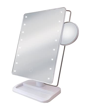 Amazoncom Sharper Image Large Led Mirror With Vanity Tray White