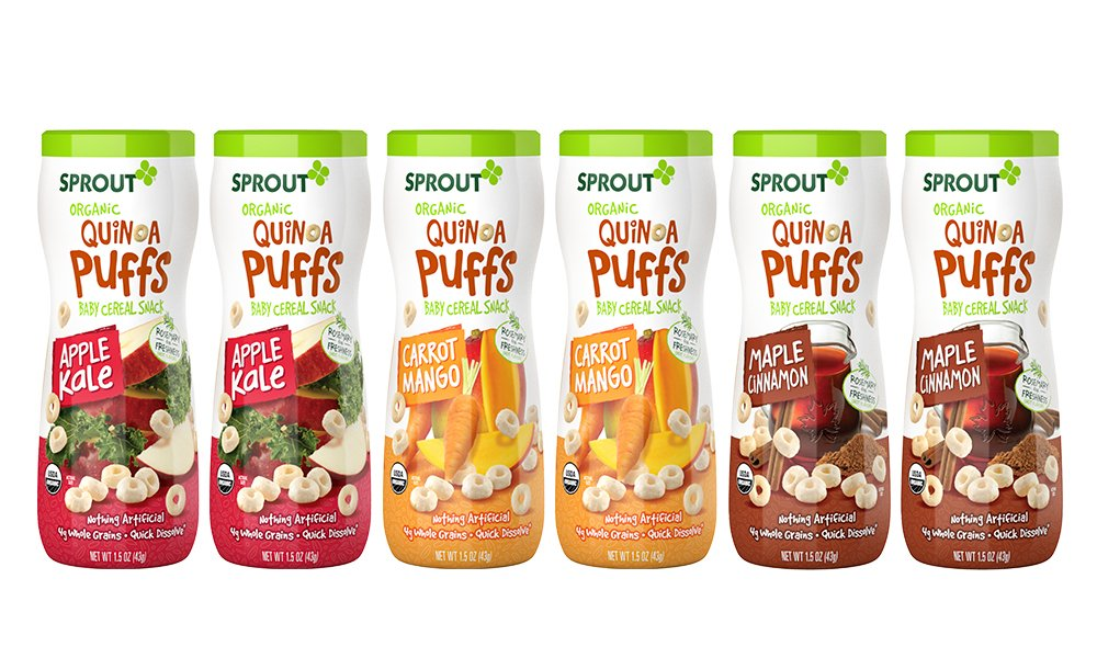 Sprout Organic Baby Food, Sprout Quinoa Puffs Variety Pack (Carrot Mango, Apple Kale, Maple Cinnamon), 1.5 Ounce Canister (Pack of 6), Baby's First Snack, Quick Dissolve, Gluten Free, 4G Whole Grains