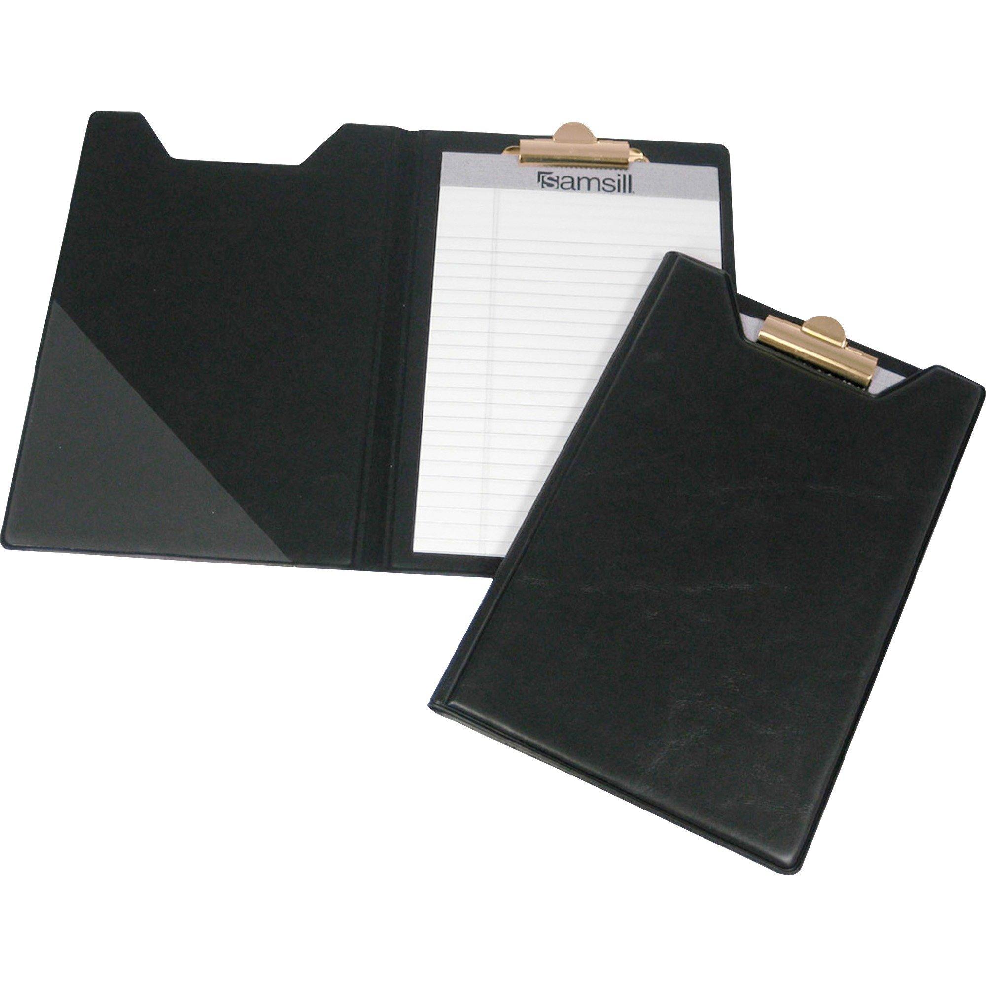 Samsill Clipboard Junior Padfolio/Portfolio, 5 x 8 Writing Pad, Black