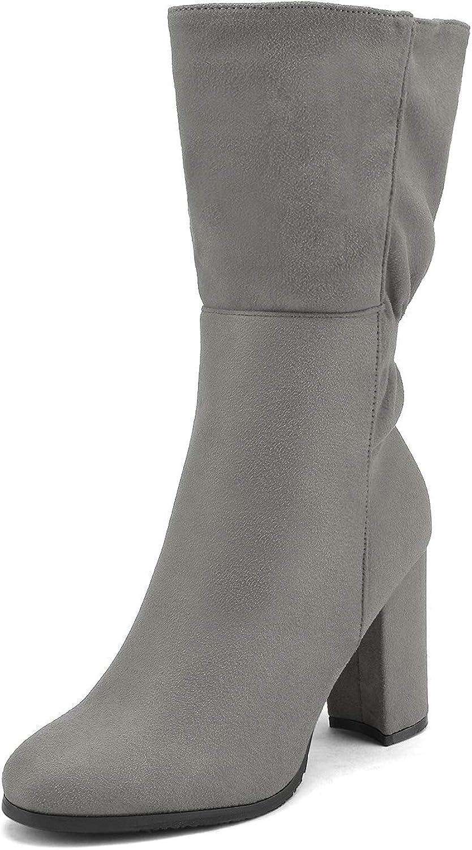 DREAM PAIRS Women/'s Mid Calf High Heel Boots