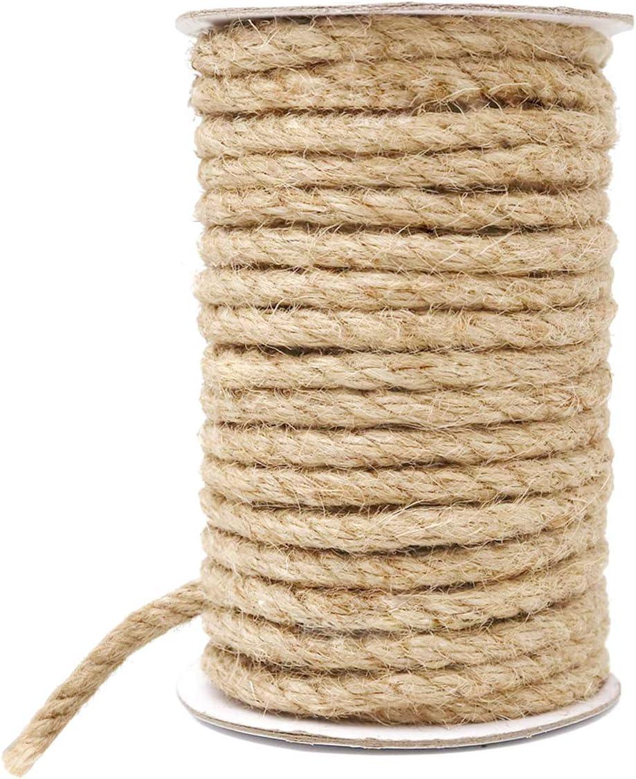 HOMYHOME cañamo 8mm de Yute Natural Cuerda cáñamo Cordel artesanía para Industrial, Embalaje, Artes y artesanías Regalos decoración Paquetes jardinería y hogar 33ft