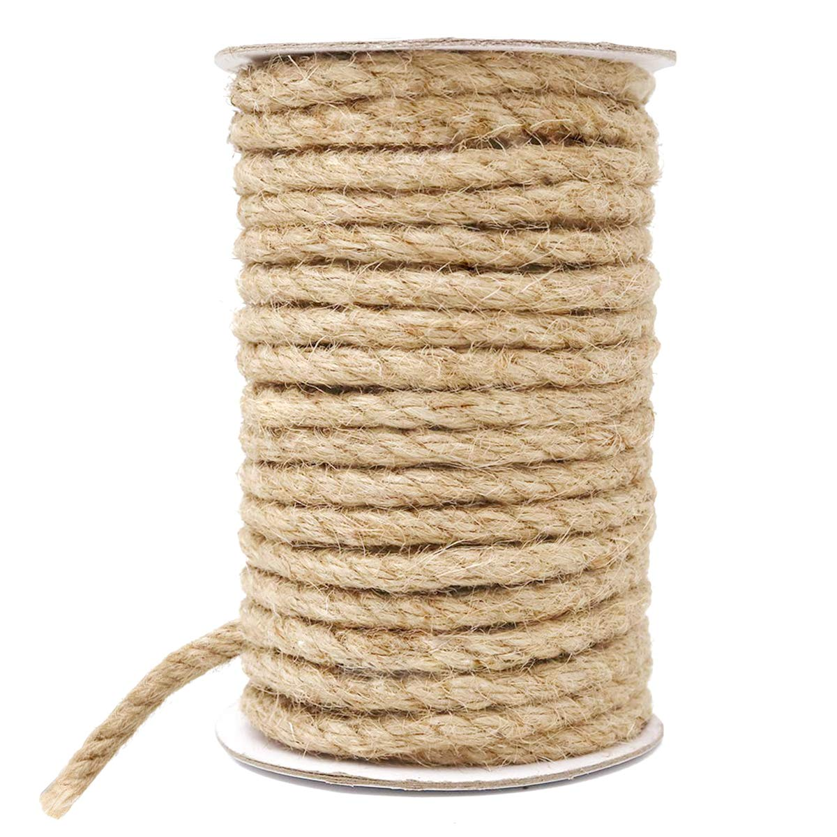 HOMYHOME Jute Rope Natural Jute Twine 8 mm Hemp Rope Cord Craft for Packaging Arts,Crafts Decoration Bundling Gardening Home 50 Feet by HOMYHOME