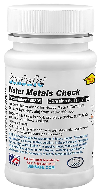 Sensafe Agua Metales Cuadros Prueba Kit para Hierro, Cobre, Cobalto, Cinc ,Cadmio, Níquel, Cable, Mercurio 480309-50 Tiras Reactivas