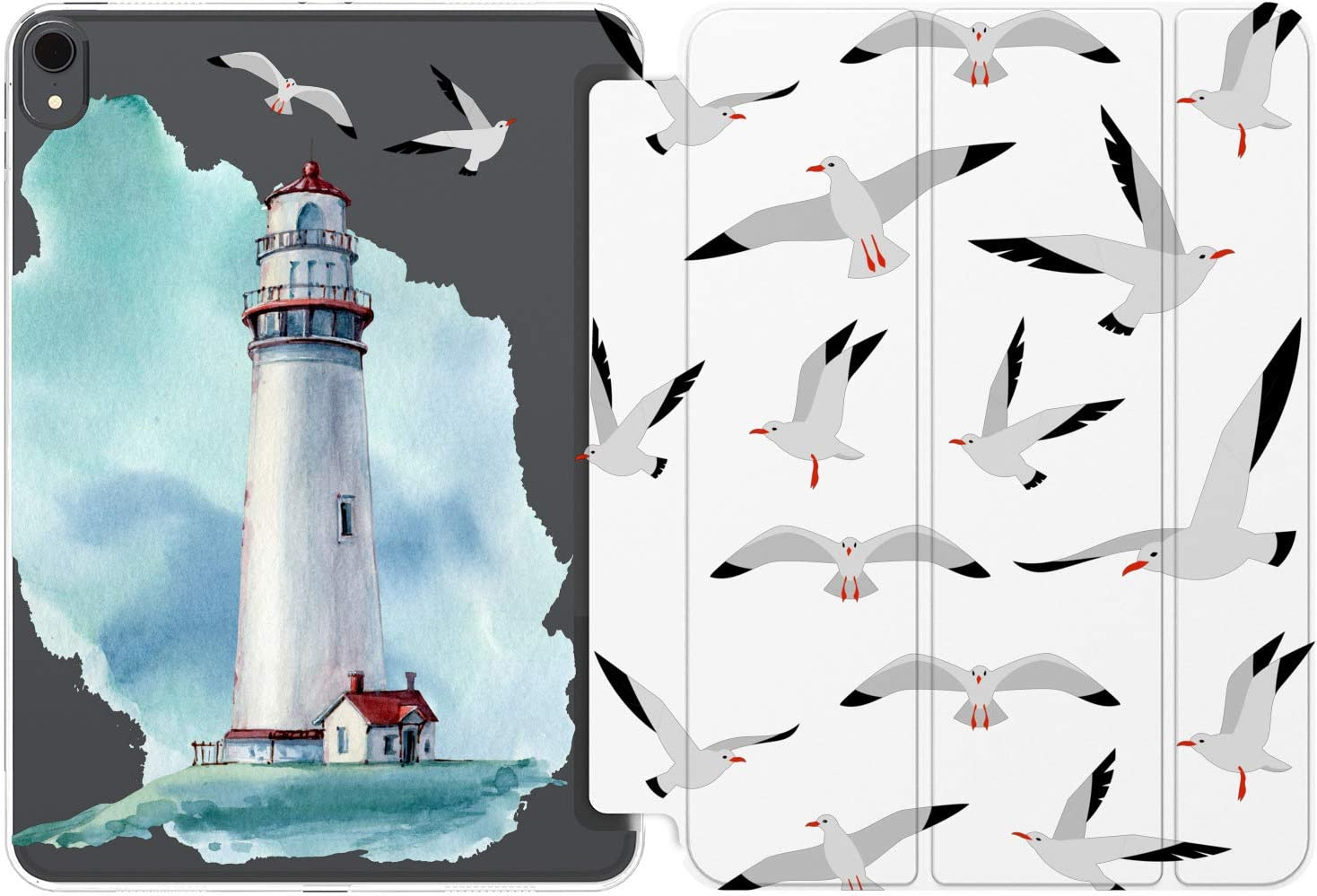 Cavka Case for Apple iPad 10.2 8th Gen 12.9 Pro 11 10.5 9.7 Air 3 Mini 5 4 3 2 1 2019/18 Beach Birds Lighthouse Pattern Seagull Nautical Ocean Clear Girl Lightweight Magnetic Closure Slim Cute