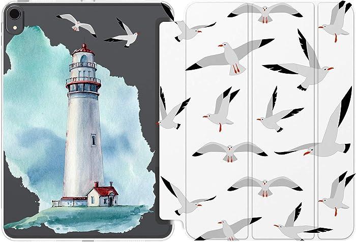 Cavka Case for Apple iPad 10.2 8th Gen 12.9 Pro 11 10.5 9.7 Air 3 Mini 5 4 3 2 1 2019/18 Beach Birds Lighthouse Pattern Seagull Nautical Ocean Clear Girl Lightweight Magnetic Closure Slim Cute