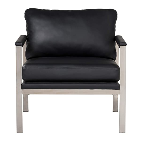 "Studio Designs Home Lintel Modern Leather Arm Chair in Chrome/Black 72029, 28"" W x 32"" D x 33"" H Silver Bonded"