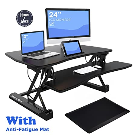 36 Wide Height Adjustable Sit Stand Desk Riser Stand Up Office Desk, Standing Desk Converter Workstation Dual Monitor, Included Spacious Keyboard Tray and Anti-Fatigue Mat