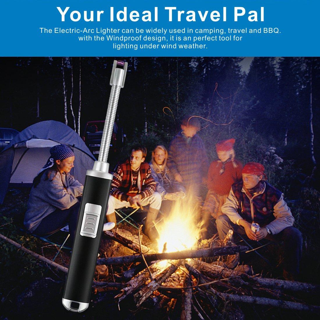 ... encendedor de velas recargable, sin llama, resistente al viento, flexible, haz de plasma para barbacoa, estufa de gas, cocina, camping, velas, bomberos, ...