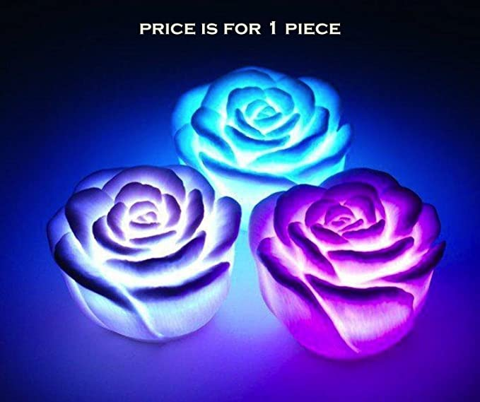 24X7 Emall Premium Led Rose ~ 7 Colour Changing Flower Night Light Lamp ~ Battery Powered