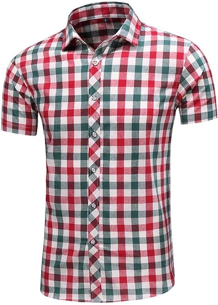 Hombre Camisa De Leñador Camisa De Manga Corta con Solapa De Hombres Chic Moda Clásica para Camisa De Malla Casual De Verano con Estampado Informal En Color Rojo Tops para (Color :