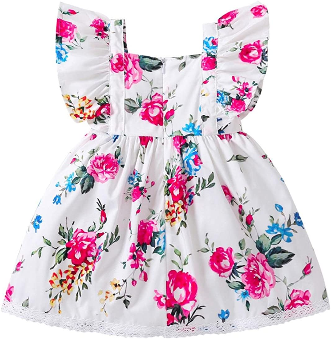 PAOLIAN Vestidos para Bebe niñas Verano 2018 Fiestas Blanco Vestidos Costura Encaje Impresion de Florales Sin Manga Moda Ropa para Bebe niñas de 6 Meses 12 Meses 18 Meses 24 Meses