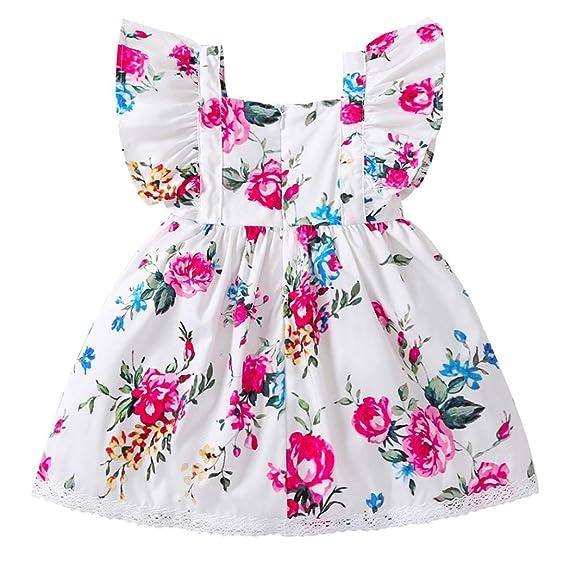 PAOLIAN Vestidos para Bebe niñas Verano 2018 Fiestas Blanco Vestidos Costura Encaje Impresion de Florales Sin