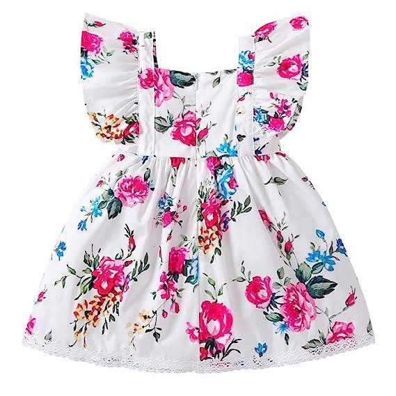 PAOLIAN Vestidos para Bebe niñas Verano 2018 Fiestas Blanco Vestidos Costura Encaje Impresion de Florales Sin Manga Moda Ropa para Bebe niñas de 6 Meses 12 ...