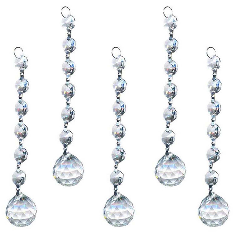 Cristal pour Lustre Prismes Pendentifs House Décoration de Mariage, 5pcs NaroFace