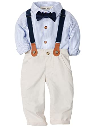 50f14c73e ZOEREA Baby Boys Clothing Sets Bow Ties Shirts + Pants Straps Outfits Toddler  Boy Gentleman Party Wedding Formal Straps Suits: Amazon.co.uk: Clothing