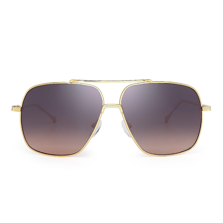 Oversize Aviator Sunglasses Gradient Clear Lens Pilot Metal Eyeglasses Men Women HHP0011 C2