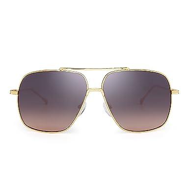 JIMHALO Klar Flieger Sonnenbrille Klassisch Flach Getönt Linse Metall Brillen Damen Herren(Silber/Gradient Grau) Flieger BBV7P