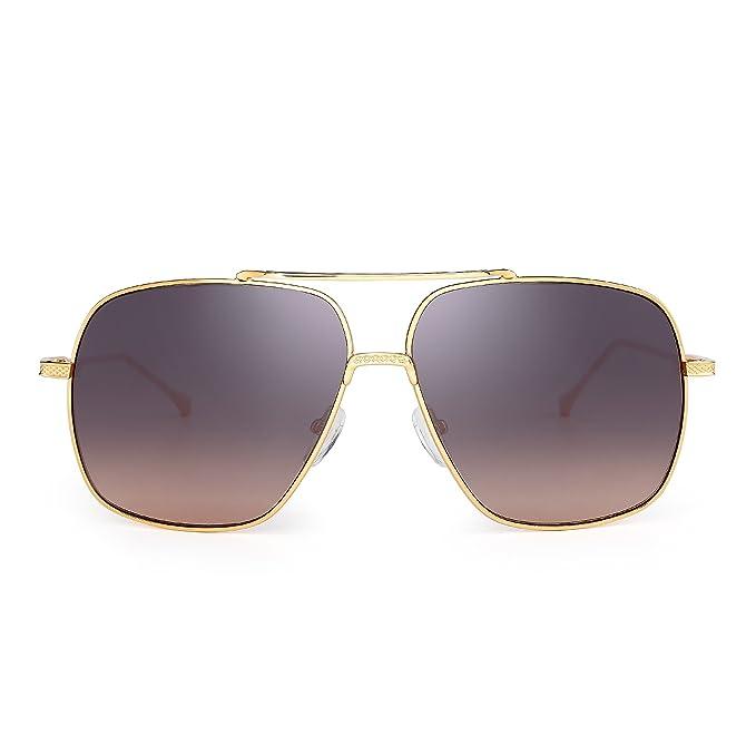 Oversize Aviator Sunglasses Gradient Clear Lens Pilot Metal Eyeglasses Men  Women (Gold Brown) 89f8f96ec6